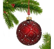 Новогоднее подвесное украшение Шар 80мм стекло 263