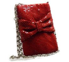 Сумочка-кармашек металлическая бантик с цепочкой а