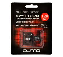 128Gb MicroSDХС Qumo 10 класс с адаптером