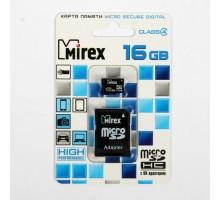 16Gb MicroSD Mirex (Class 10)  с адаптером