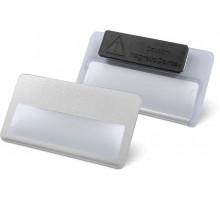 Бейдж КанцПарк 75*40мм, окошко, белый пластик+магн