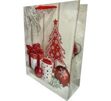 Пакет В Новый год с декором блестки подвеска-снежи