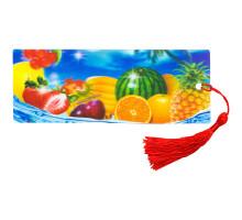 """закладка д/книг 3D с линейкой """"фрукты"""" 4598"""