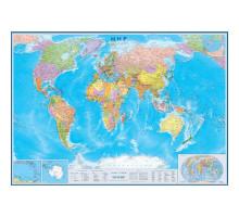 Карта мира политическая 1:30м (136см*890см) с флаг