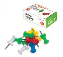 Кнопки-гвоздики силовые STAFF цветные, 50 шт., в к