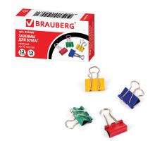 Зажим для бумаг Брауберг 15мм цветные 224469