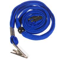 Шнурок для бейджа синий с клипсой